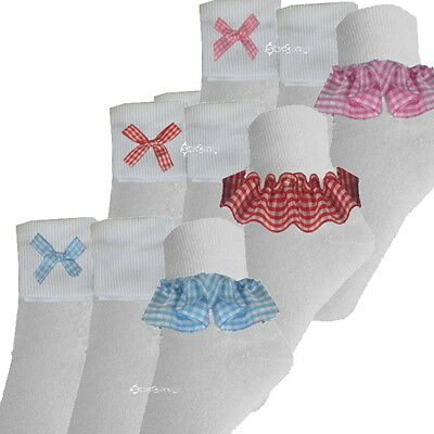 6 or 12 Pairs Girls Cotton Gingham Ankle Socks School All Sizes Baby to Adult
