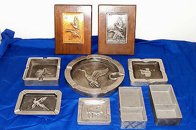Old Bruce Fox Art Collection Ashtray Picture Tray Wildlife Aluminum Metal Artist