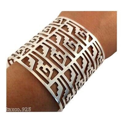 Taxco Mexican Sterling Silver Cut Out Pattern Cuff Bracelet Mexico