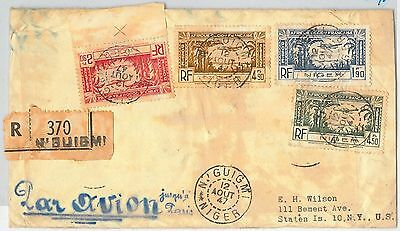 MAURITANIA / NIGER -  POSTAL HISTORY: REGISTERED COVER from N'guigmi to USA 1947