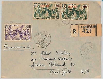 MAURITANIA / NIGER -  POSTAL HISTORY: REGISTERED COVER from Tahoua to USA 1945