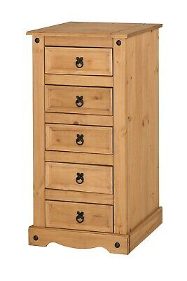 Corona 5 Drawer Narrow Chest of Drawers Mexican Solid Pine by Mercers Furniture®