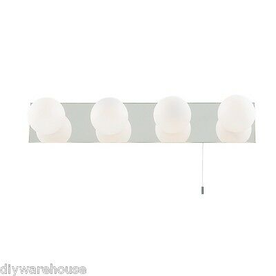 Searchlight 6337-4  Stunning Chrome Mirror Wall Light Bar With Opal Glass. New