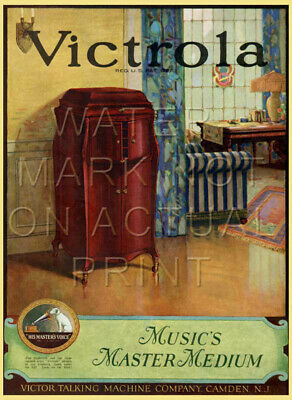 """17.5"""" X 24"""" Reproduced Victor Victrola Advertisement Canvas Banner"""