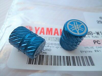 Yamaha Wheel Valve / Dust Cap Caps Set BLUE ** GENUINE YAMAHA ACCESSORY **