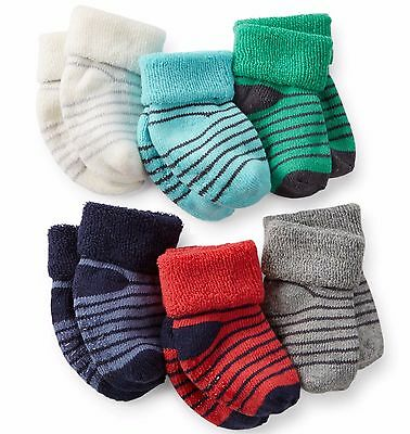 Carter's 6 Pack Of Terry Socks For Infant Boys~Size 0-3Months Or 3-12Months~New