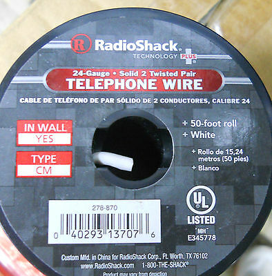 (5) Radioshack 24-Gauge Solid Twisted Pair Telephone Wire (50-Ft) Roll White