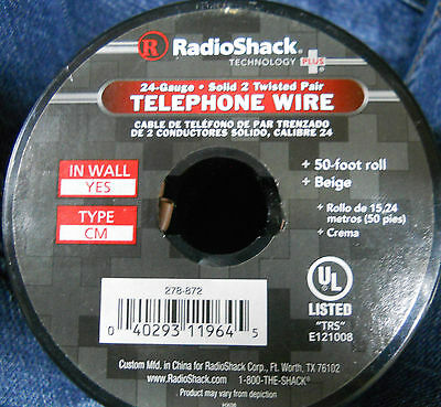 (9) Radioshack 24-Gauge Solid Twisted Pair Telephone Wire (50-Ft) Roll Beige