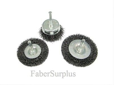 "3PC Wire Wheel Brush Set  1/4"" Shank New"