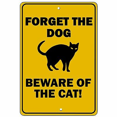 FORGET THE DOG BEWARE OF CAT  8X12 Aluminum Sign Will never rust, crack or fade