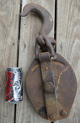 "Old Large Steel Barn Pulley Block & Tackle Made by Anvil Heavy Duty 16.5"" Tall"