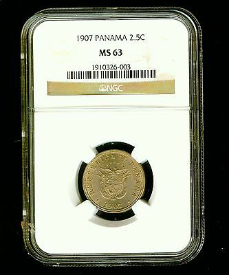 1907 Panama 2 1/2 Centesimos NGC MS 63 Nice High Grade