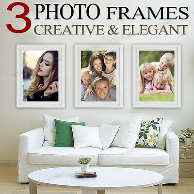New 3 PCS Picture Photo Frame Set Home Wall Decor Christmas Gift Present White
