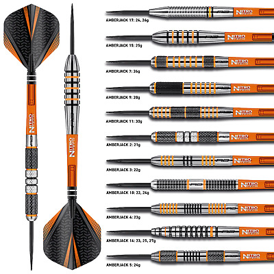 AMBERJACK TUNGSTEN DARTS SET Red Dragon™ Dart, Stems, Flights , Case, 21-30g