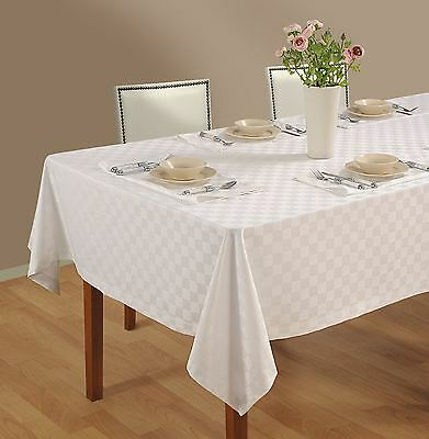 6 Seater Table Linen White Check Dinner Party Tablecloth Dinner Napkins set