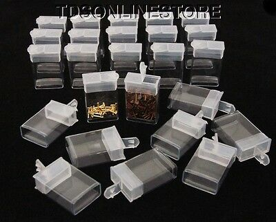 """Rectangle Clear Plastic Storage Tubes With Flip Tops 1.5"""" Pack of 100"""