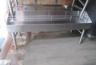 4' Stainless Steel Back Bar Glass Drainboard w/ Double Liquor/Syrup Speed Rail