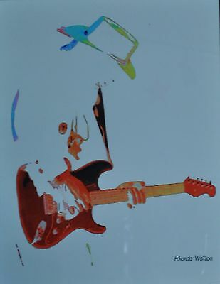 Watercolor Painting Blues Guitar Player Stevie Ray Vaughn