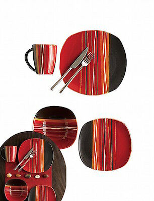 GIBSON Bazaar Red 16pc Set Red Black Stripes Stoneware NEW
