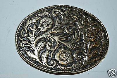 WOW Vintage Western Floral Rodeo Equestrian Cowboy Golden Belt Buckle RARE