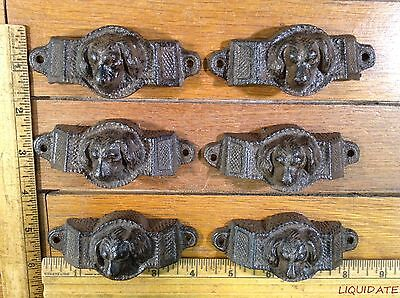 set 6pc DOG HANDLES BIN PULL 3-7/8 rustic cast iron Drawer Cabinet antique style