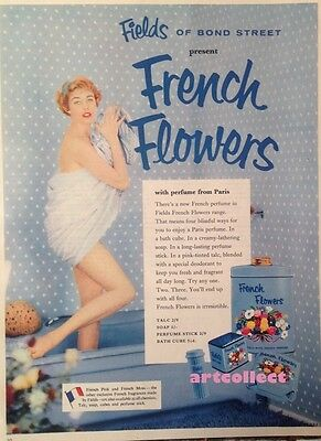 Original Vintage British Ad: French Flowers. Fields of Bond Street. (1958)