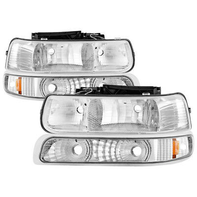 Chevy 99-02 Silverado 00-06 Tahoe Suburban Chrome Replacement Bumper Headlights