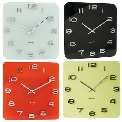 Karlsson Vintage Square Pastel Modern Decor Room Office Glass Wall Clock