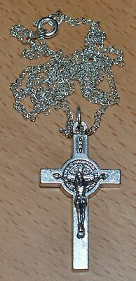 St Benedict Crucifix, 40mm Silver Tone Metal, With 55cm Silver Plated Chain