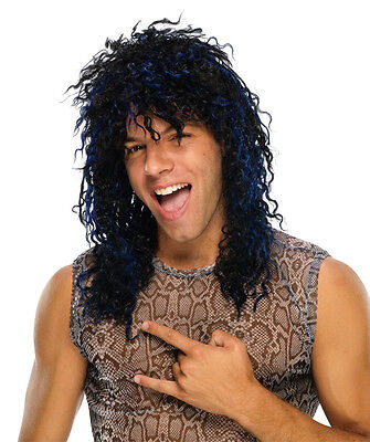 Mens Rocker Wig 80s Black Blue Long Hair Streaks Punk Costume Adult Curly Frizz
