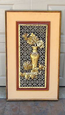 ANTIQUE 19c CHINESE LARGE ROSEWOOD CARVED PIERCED  PANEL PLAQUE VASE W/ FLOWERS