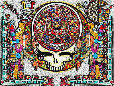 "3.25"" Grateful Dead, Mayan calendar VINYL Bumper STICKER. 420 For car or bong."