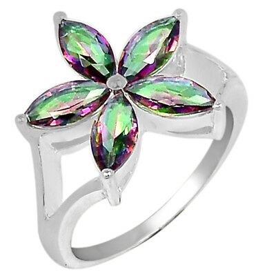 3cts Rainbow Topaz 925 Sterling Silver Ring Jewelry s.7 R5066MY-7
