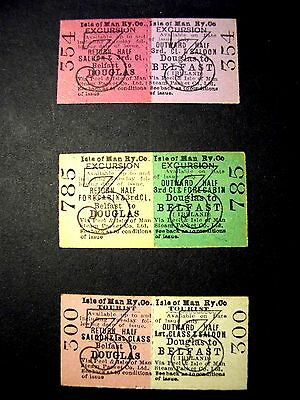 Isle of Man Railway Co Rare or Excursion/Conducted Tour tickets 1900s-1930s