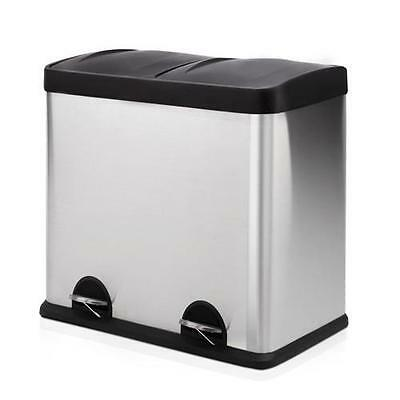 Modern 60L Rectangle Foot Pedal Rubbish Trash Garbage Bin - Dual 2 Compartments