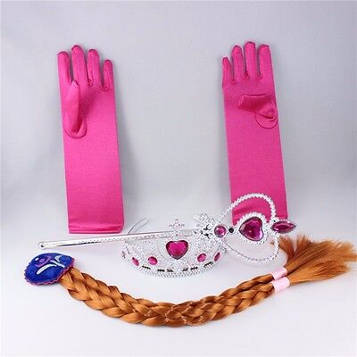 Frozen Princess Elsa Anna Costume Cosplay  Crown Wand Braid Wig Gloves for Girls