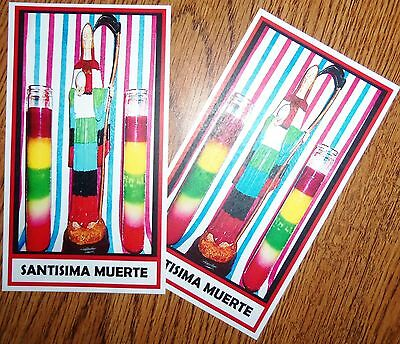 SANTISIMA MUERTE PRAYER CARDS set of 2 RED ASPECT card santa HOLY