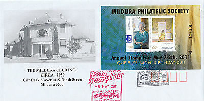 Stamps QE2 birthday 2011 mini sheet limited Edition MILDURA overprint on cover
