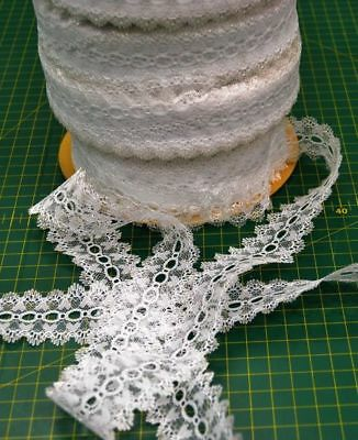 WHITE Feather Edge Eyelet Lace 38mm x 10m, Heart Design Insertion Lace, Knitting