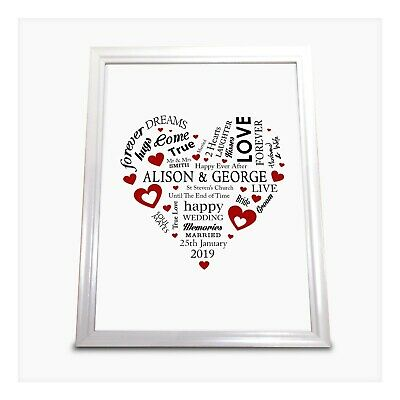 Wedding Print Personalised Word Art Gift Marriage Present Heart UNFRAMED A4