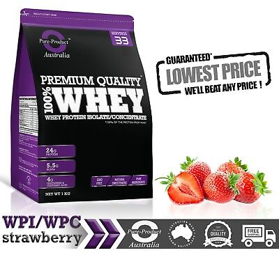 2Kg  - Whey Protein Isolate / Concentrate - Strawberry - Wpi Wpc Powder