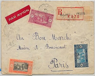 SENEGAL -  POSTAL HISTORY:  REGISTERED COVER from Saint-Louis to FRANCE 1933