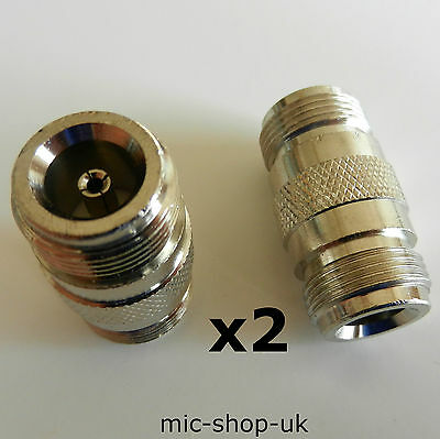 2 x N Type Female to N Type Female Coupler Adapter Double Female Joiner