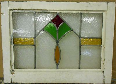 "OLD ENGLISH LEADED STAINED GLASS WINDOW Colorful Geometric 21.25"" x 15.75"""