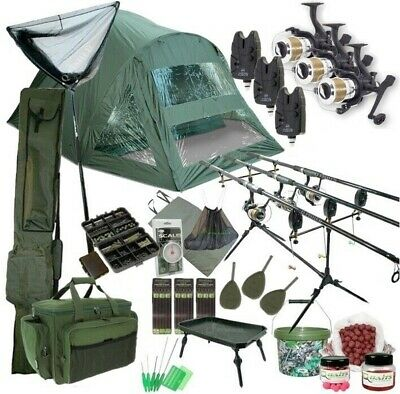 3 Rod Carp Set Up. 2 Man Double Skin Carp Fishing Bivvy Set. Rods Reels Bait
