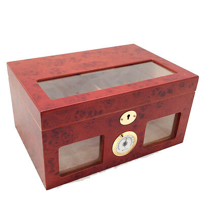 CIGAR HUMIDOR 100 ct BURLWOOD - CLEAR TOP AND FRONT VIEW