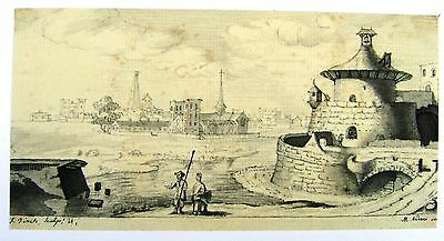Fortified Continental Tower In Landscape Ink  F. Finch After M.andover C11790