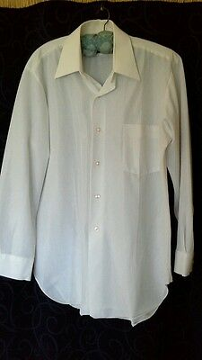 Retro vintage GLO WEAVE 4 SEASONS mens dress shirt easy care terelyne size 38 gc