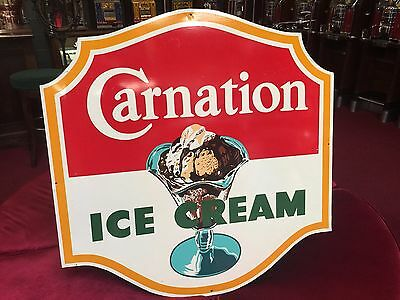 "1950's Tin CARNATION ICE CREAM 35"" x 36"" Single-Sided Sign Watson's Drug Store"