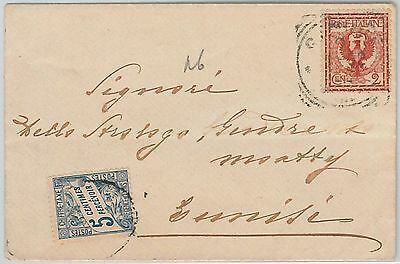 ITALY -  POSTAL HISTORY: COVER to  TUNISIE  Tunisia 1902 TAXED on ARRIVAL!